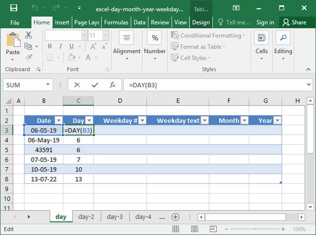 Define date format in excel