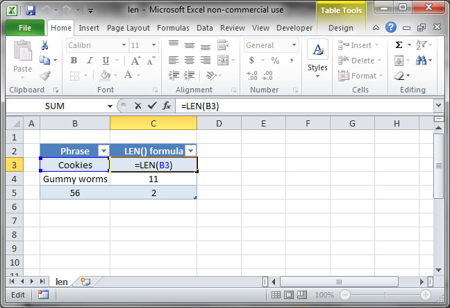 Count characters in Excel using LEN