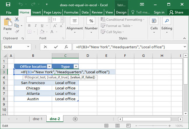 Does not equal logical operator applied to office location list