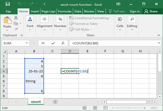 Excel's COUNT function in practice
