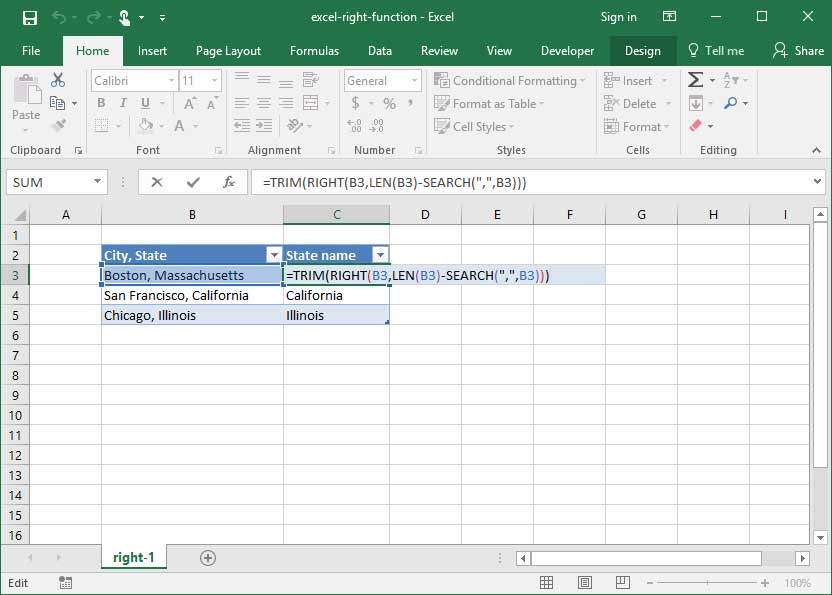 Excel's right function used to extract a state name