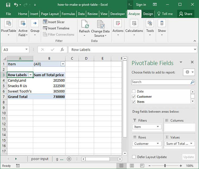 Pivot Table with a filter