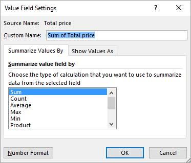 Value field setting dialogue