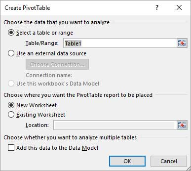 Pivot Table creation dialogue