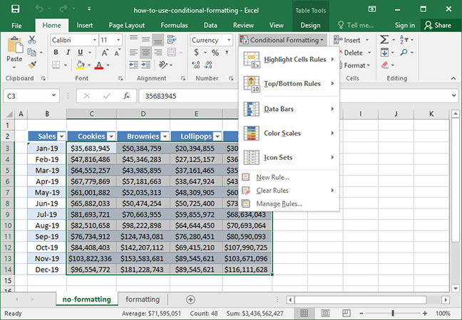 Conditional formatting options