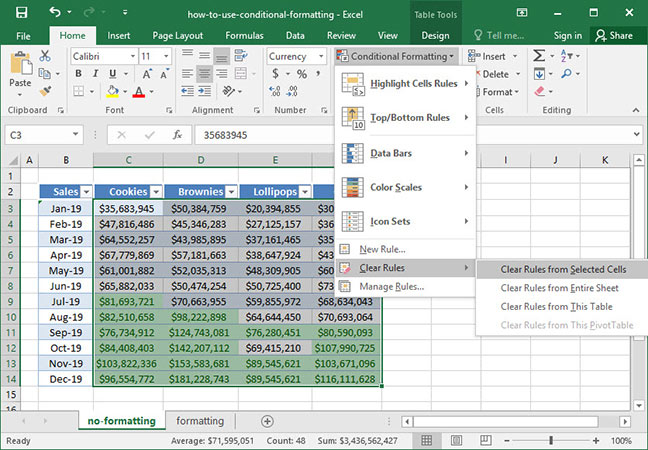 Clearing our conditional formatting