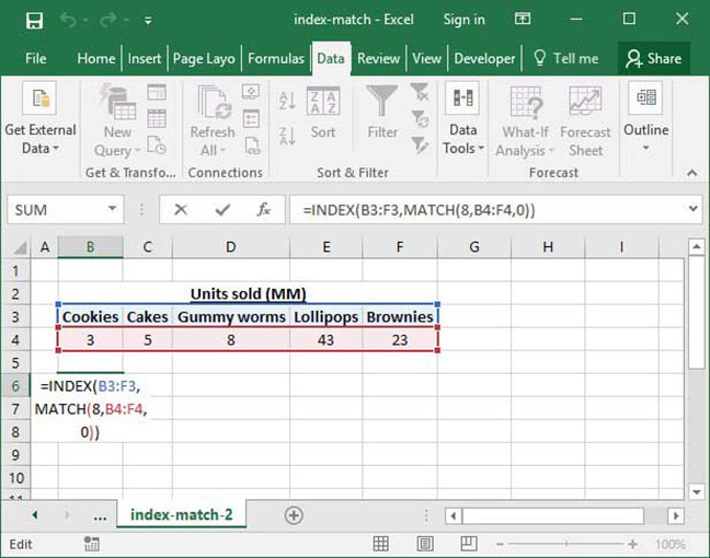 Another example of Excel's INDEX MATCH formula