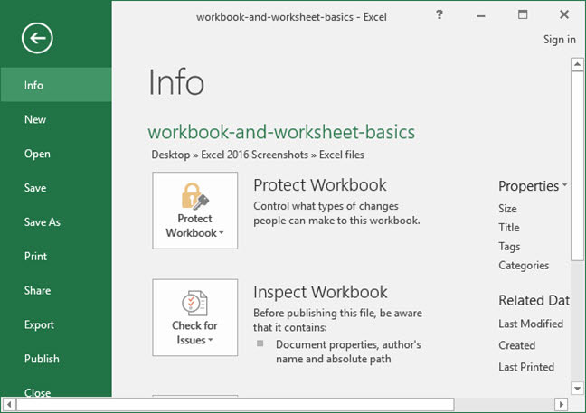 The backstage view of a workbook